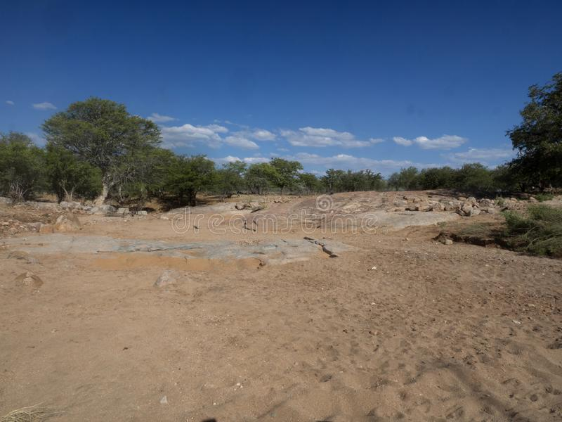 Landscape along the Kunene River, North Namibia. The Landscape along the Kunene River, North Namibia royalty free stock images