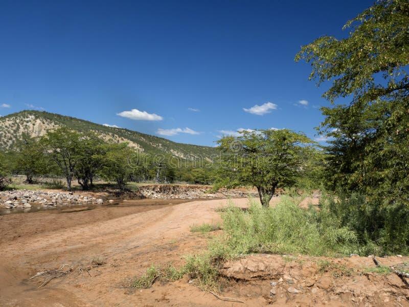 Landscape along the Kunene River, North Namibia. The Landscape along the Kunene River, North Namibia stock image