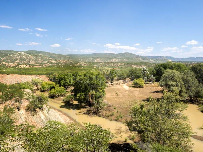 Landscape along the Kunene River, North Namibia. The Landscape along the Kunene River, North Namibia stock photo