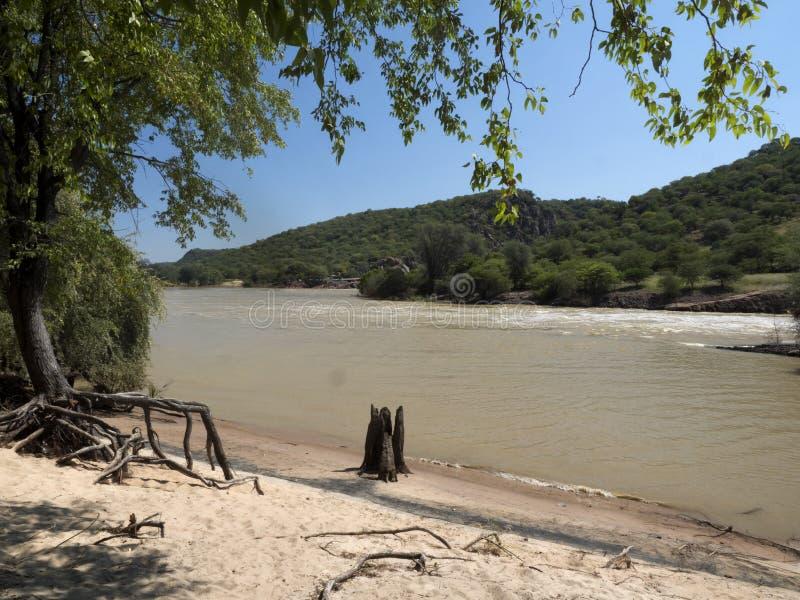 Landscape along the Kunene River, North Namibia. The Landscape along the Kunene River, North Namibia stock photos