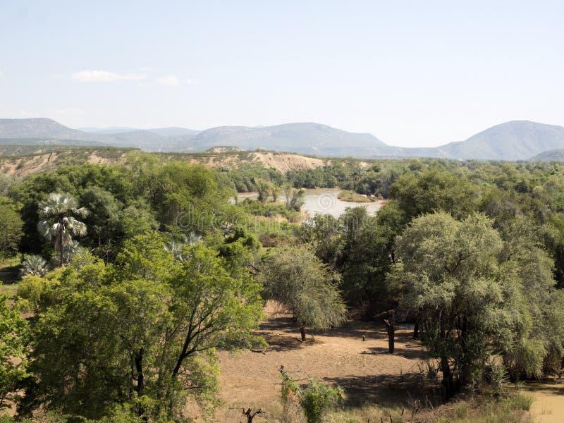 Landscape along the Kunene River, North Namibia. The Landscape along the Kunene River, North Namibia royalty free stock photos