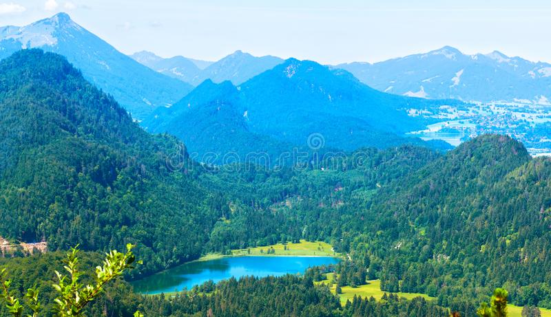 Landscape of Alpine mountains, Germany. Panoramic scenic view of nature from above stock photos