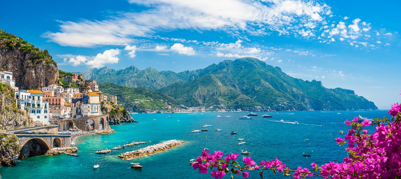 Landscape with amalfi coast stock photos