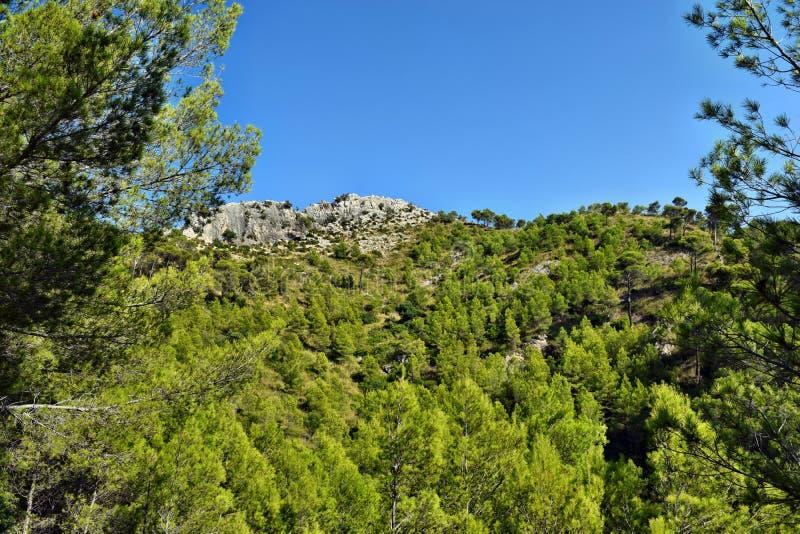 Landscape on an amazing mountains in Puig De Sant Marti. Alcudia, Mallorca, Spain stock photos