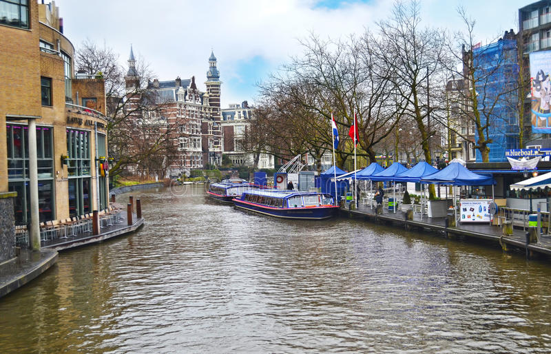 Landscape of Amsterdam canals Holland stock photos