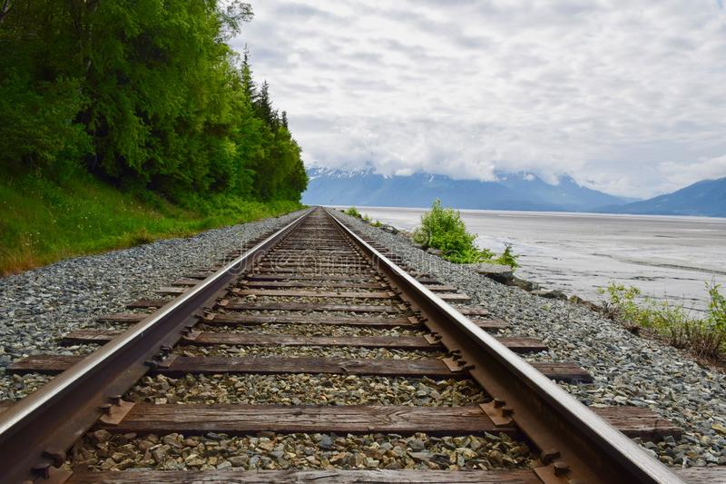 Landscape in Anchorage, Alaska, United States. The Alaska Railroad Anchorage to Seward. Beautiful  Alaska Landscape, United States royalty free stock image