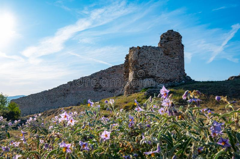Old castle in the greece. Landscape with Ancient City Of Anaktoroupolis in the Nea Peramos stock images