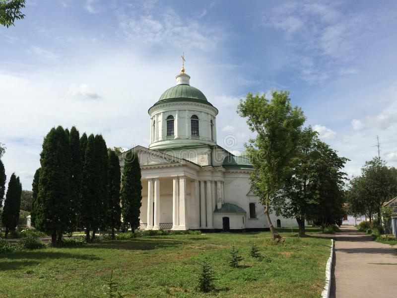 Landscape with Ancient Greek church on it beautiful day in Nizhyn, Ukraine stock images
