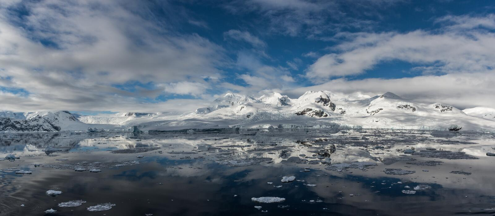 Landscape of Andvord Bay, Antarctic Peninsula. Magnificent view of the icy landscape of Andvord Bay, Antarctic Peninsula stock photo