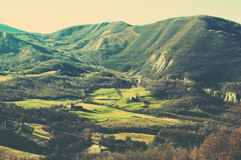Landscape in the Apennines mountains, Italy. Scenic landscape in the Apennines mountains, Italy. Vintage nature royalty free stock photography