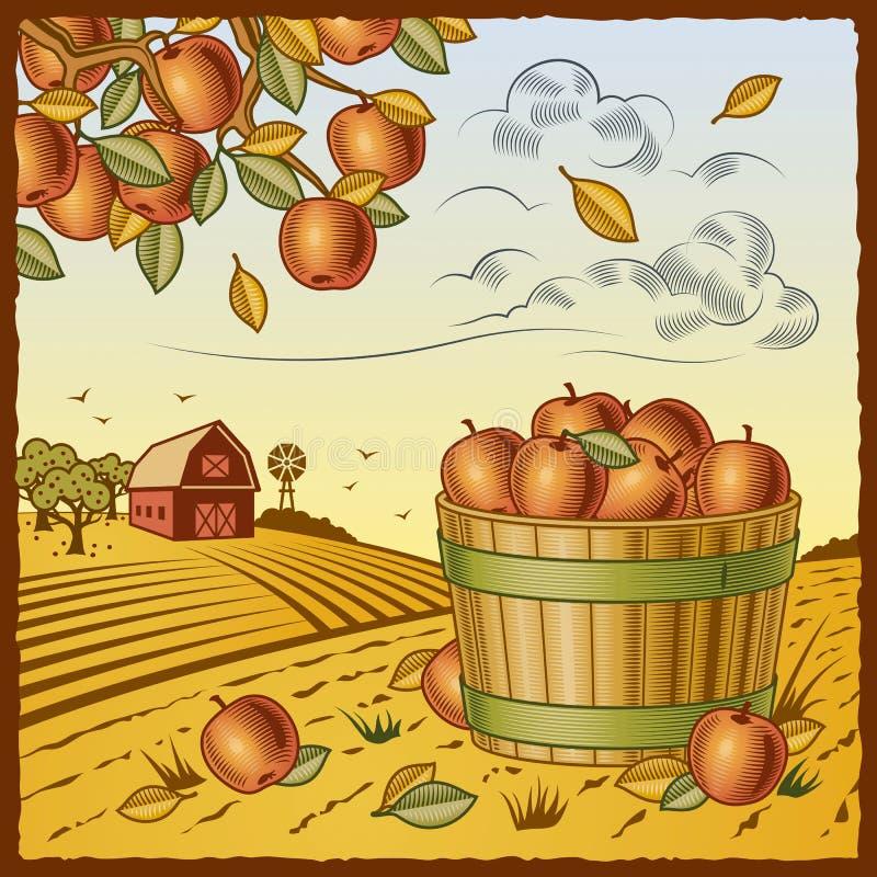 Landscape with apple harvest stock illustration