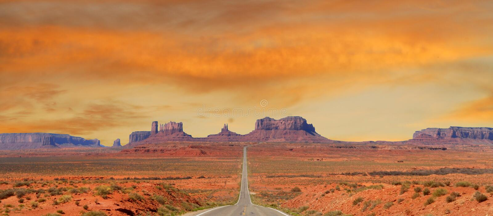 Landscape approaching Monument Valley in Utah stock photo