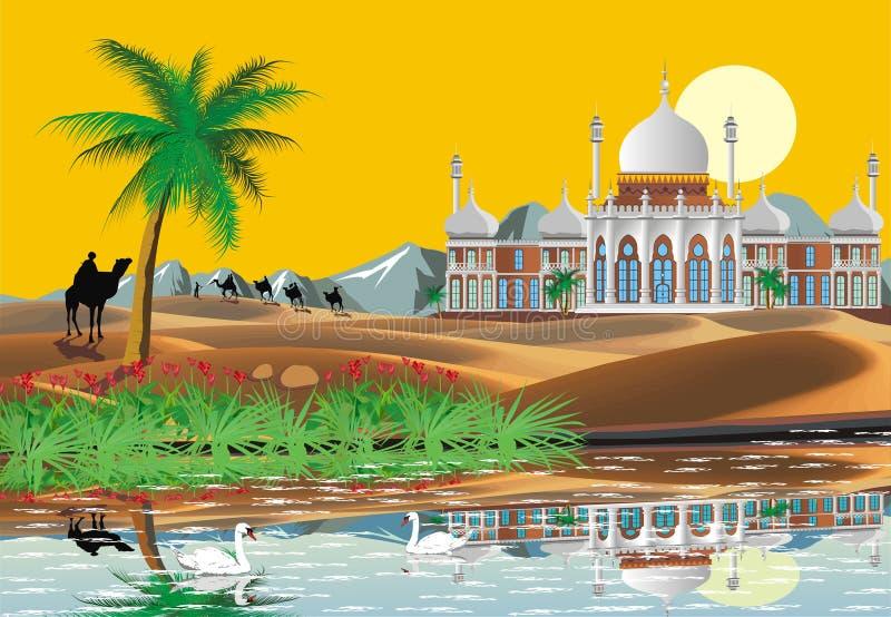 Landscape. Arab Palace in the desert. An oasis in the desert. vector illustration