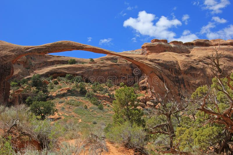 Landscape Arch at Arches National Park in Utah, USA royalty free stock photography