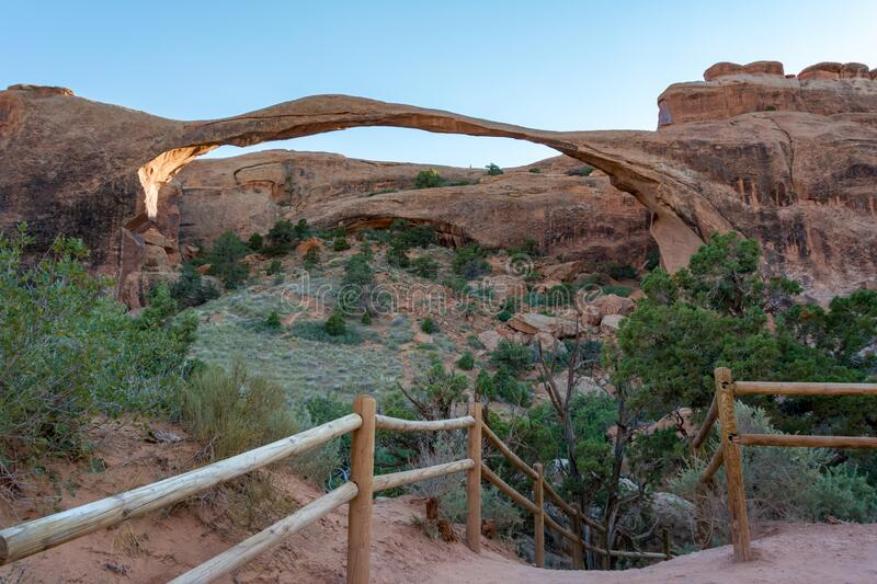 Landscape Arch is the longest of the many natural rock arches located in Arches National Park, Utah, United States.  royalty free stock image