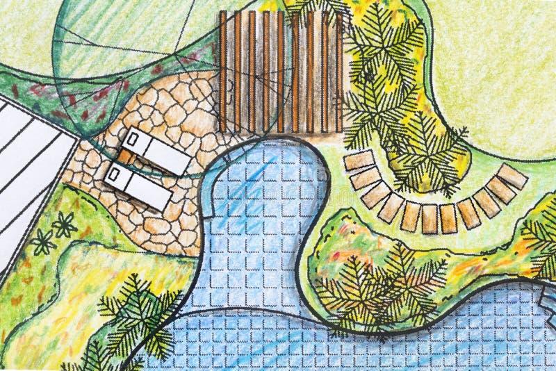 Download Landscape Architect Design Backyard Plan For Villa Stock Image    Image Of Paving, Patio