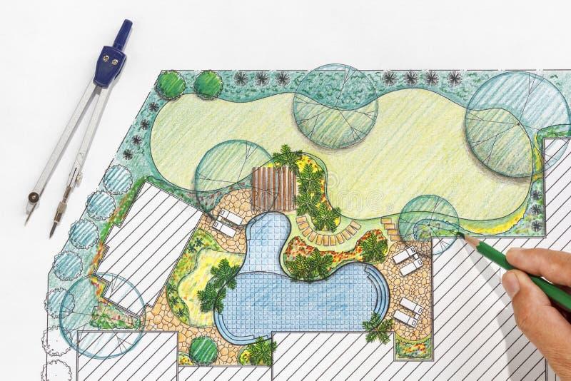 Download Landscape Architect Design Backyard Plan For Villa Stock Image    Image Of Architectural, Landscape