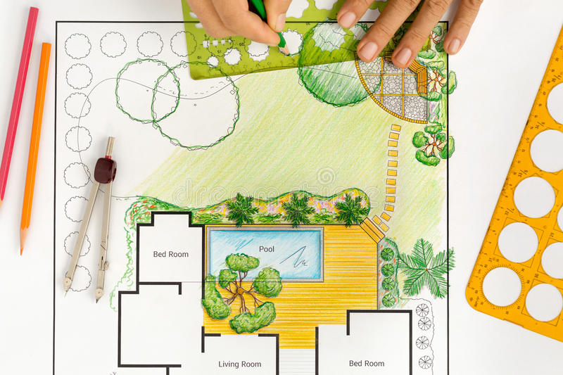 Landscape architect design backyard plan for villa stock photo download landscape architect design backyard plan for villa stock photo image of backyard blueprint malvernweather Images