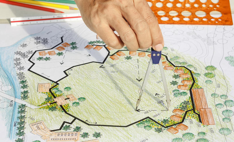 Download Landscape Architect Design Blueprint For Resort Stock Photo