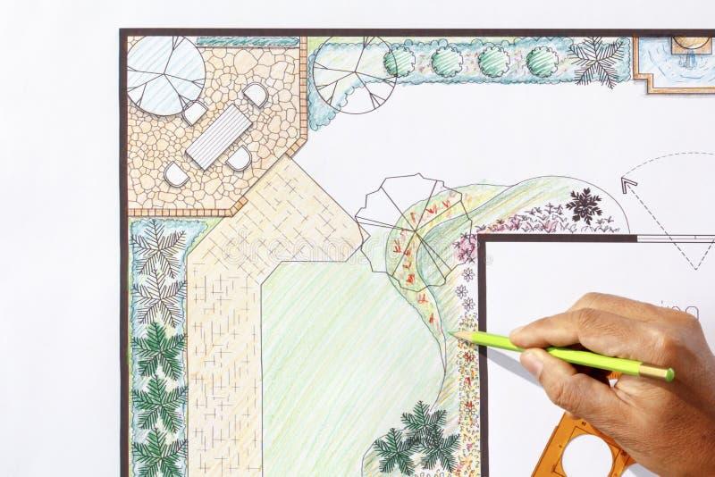 Landscape Architect Design L Shape Garden Plan Stock Photo