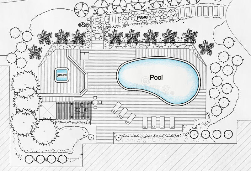 Landscape architect designs pool for luxury villa stock for Pool design drawings