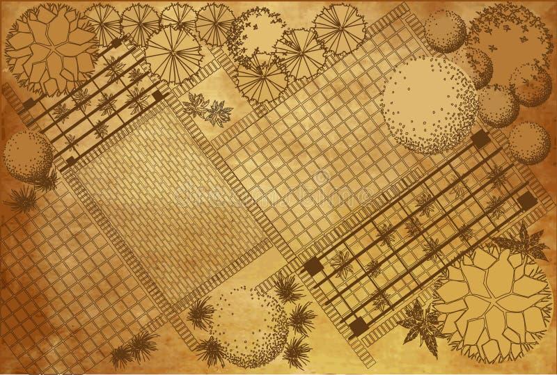 Landscape architectural project on vintage background royalty free illustration