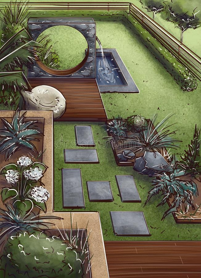 Landscape architecture design plan in the courtyard of the villa, country house, in the country. Visualization, drawing, picture, sketch, 3d illustration - chic stock illustration