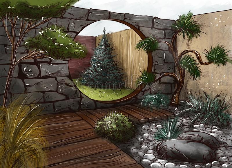 Landscape architecture design plan in the courtyard of the villa, country house, in the country. Visualization, drawing, picture, sketch, 3d illustration - chic royalty free illustration