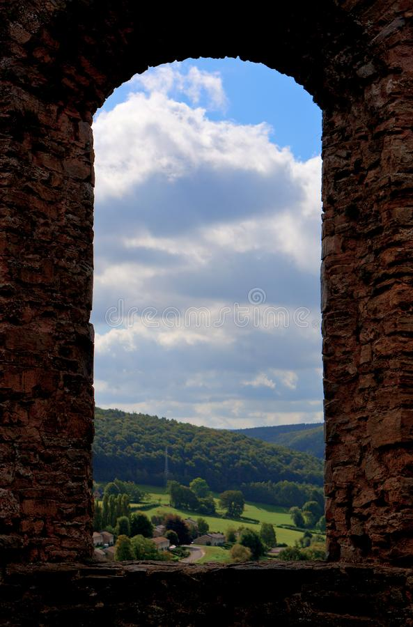 Window frame landscape medieval castle Franchimont, Theux, Liege, Belgium stock photography