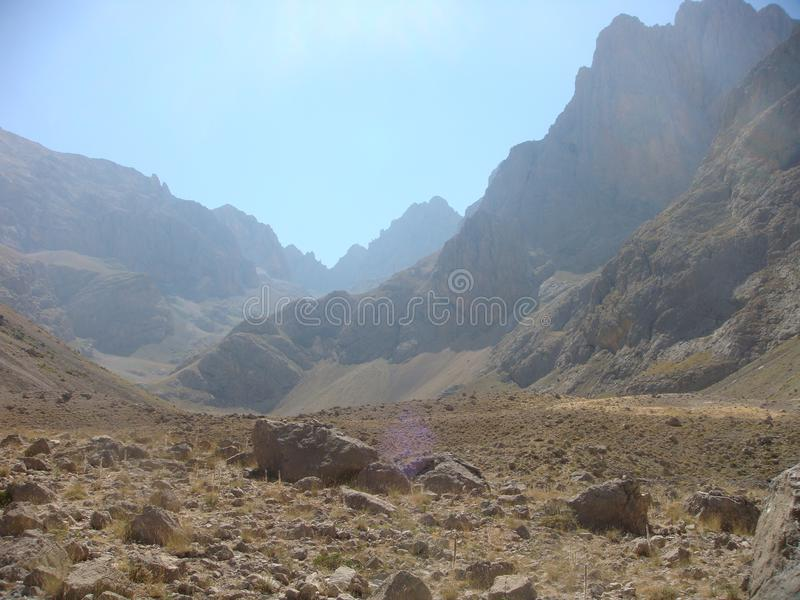 Landscape of arid high mountain in a sunny day on the Taurus in Turkey. stock image