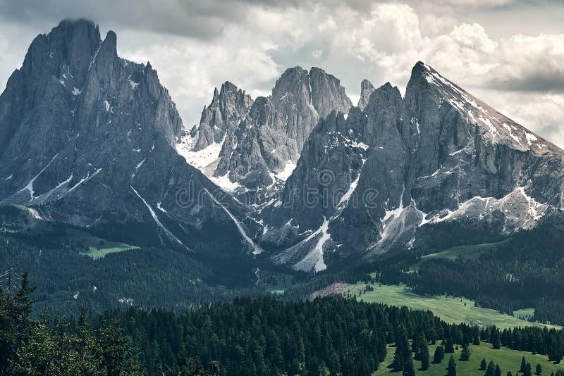 The landscape around Alpe di Siusi/Seiser Alm, Dolomites, Italy stock image