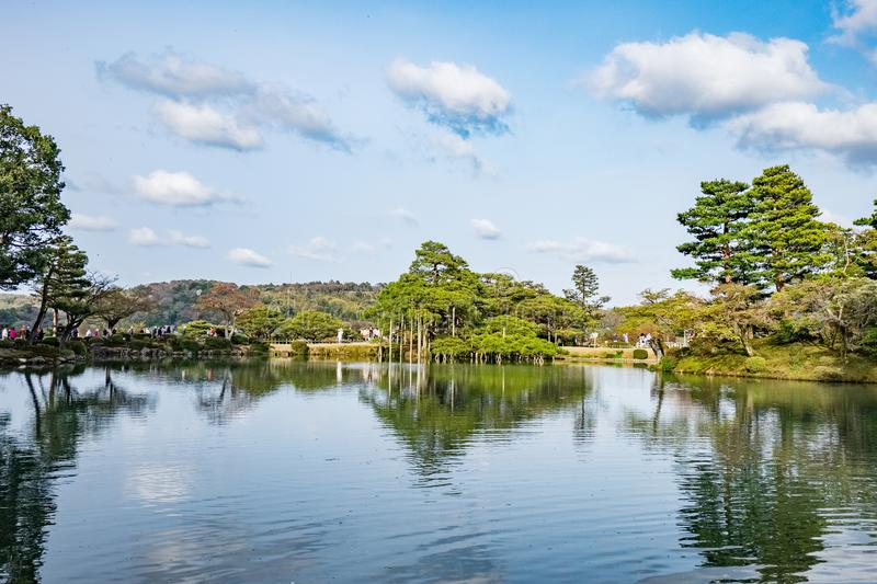 Landscape around Kenrokuen garden one of the most beautiful landscape gardens in Japan, Locate in Kanazawa city. Landscape around Kenrokuen garden one of the stock image