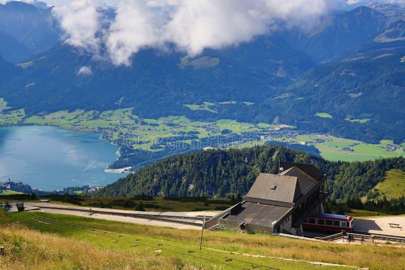 The landscape around Lake Wolfgangsee, Schafbergbahn, Salzkammergut, Salzburg, Austria stock photography