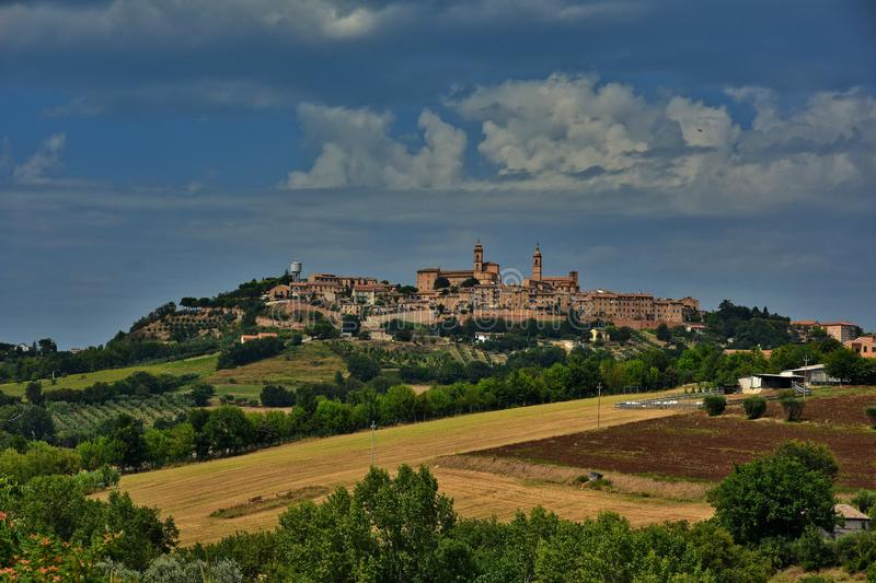 Journey to discover the medieval towns in Italy. Landscape around Montecosaro, a medieval village of the Marche region in Italy stock photo