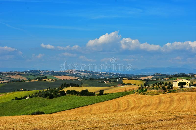 Journey to discover the medieval towns in Italy. Landscape around Montecosaro, a medieval village of the Marche region in Italy stock image