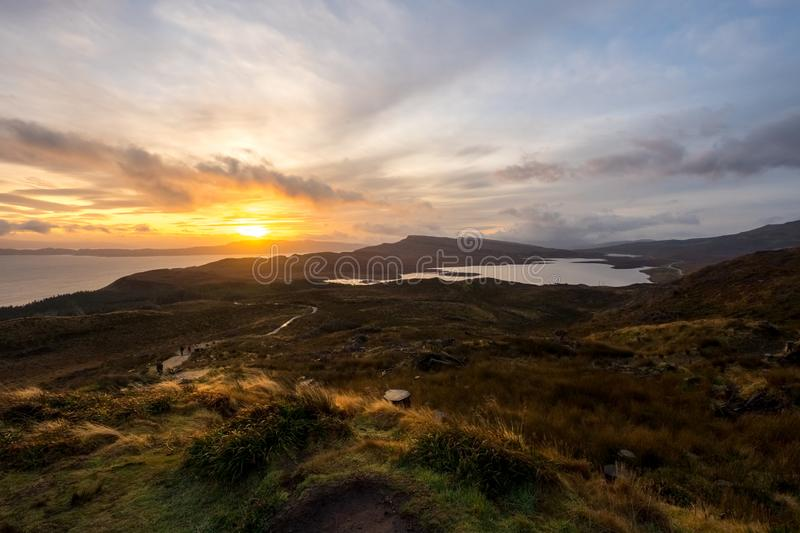 Landscape around the Old Man of Storr and the Storr cliffs, Isle of Skye Scotland, United Kingdom royalty free stock photography