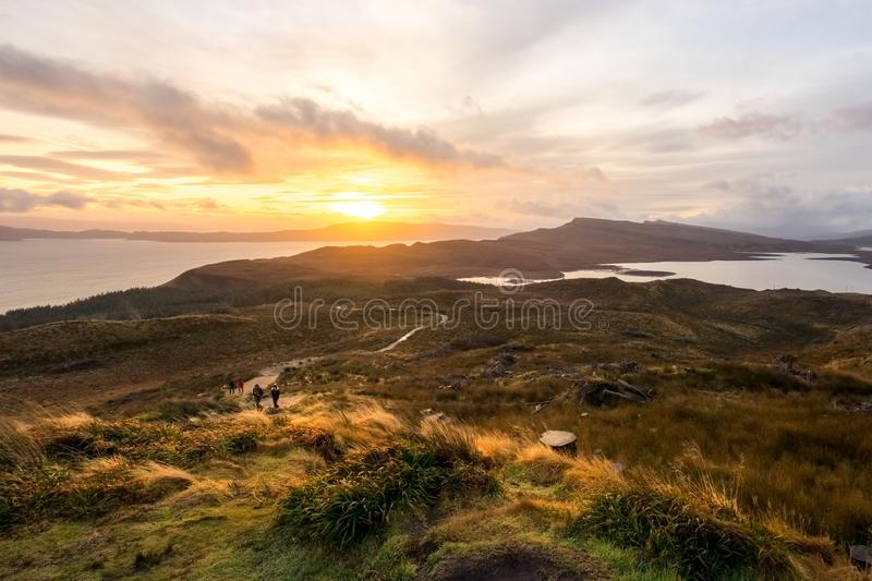 Landscape around the Old Man of Storr and the Storr cliffs, Isle of Skye Scotland, United Kingdom royalty free stock image