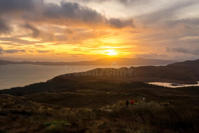 Landscape around the Old Man of Storr and the Storr cliffs, Isle of Skye Scotland, United Kingdom stock photo