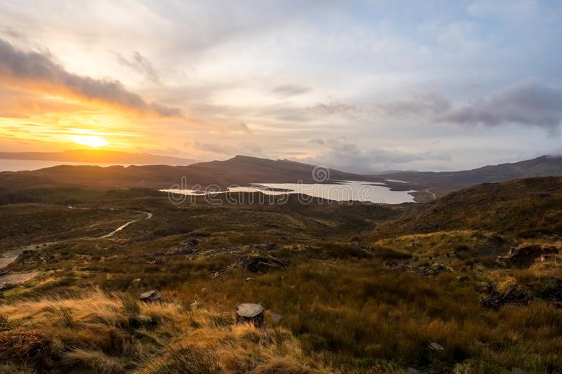 Landscape around the Old Man of Storr and the Storr cliffs, Isle of Skye Scotland, United Kingdom royalty free stock photo