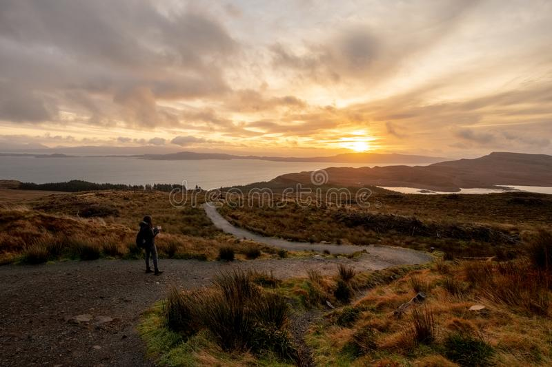 Landscape around the Old Man of Storr and the Storr cliffs, Isle of Skye Scotland, United Kingdom stock images