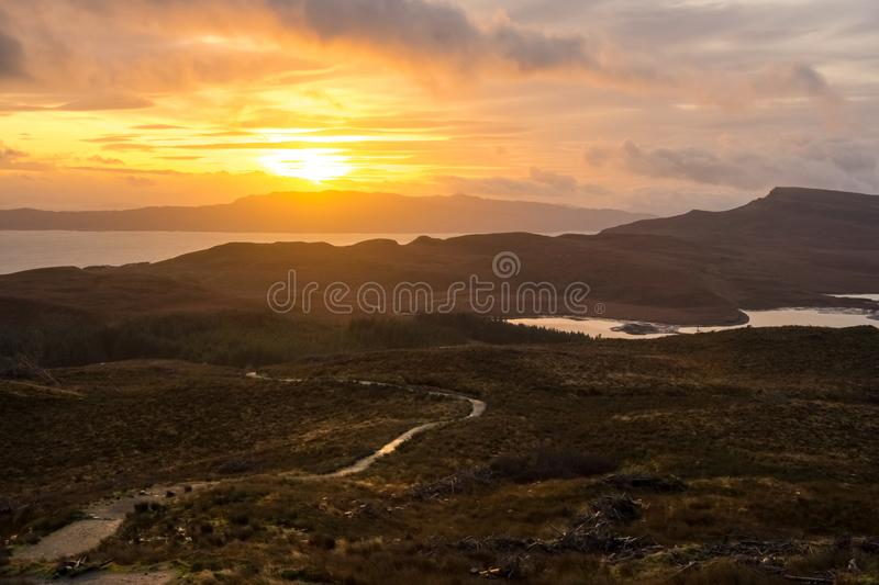 Landscape around the Old Man of Storr and the Storr cliffs, Isle of Skye Scotland, United Kingdom royalty free stock images
