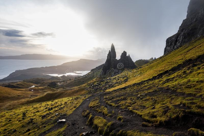 The Landscape Around the Old Man of Storr and the Storr Cliffs, Isle of Skye, Scotland, United Kingdom royalty free stock photos