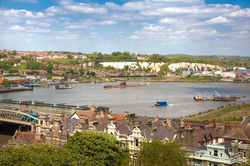 Landscape around of Rochester city include river Kent and yacht club stock images