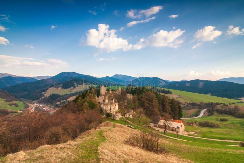 Landscape around ruins of Sklabina castle, Slovakia. Landscape around ruins of Sklabina castle, Slovakia, Europe royalty free stock photo