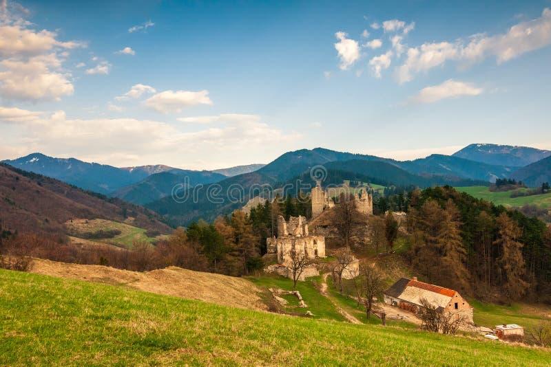 Landscape around ruins of Sklabina castle, Slovakia. Landscape around ruins of Sklabina castle, Slovakia, Europe stock image