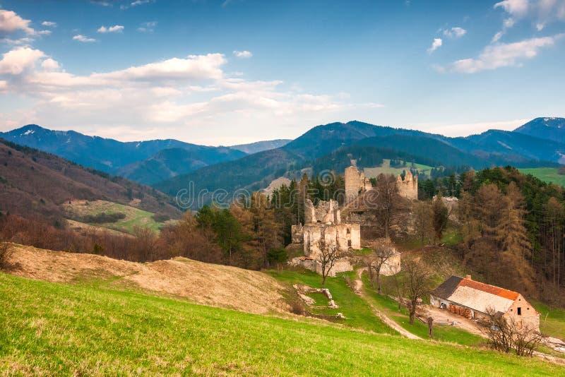 Landscape around ruins of Sklabina castle, Slovakia. Landscape around ruins of Sklabina castle, Slovakia, Europe royalty free stock photos