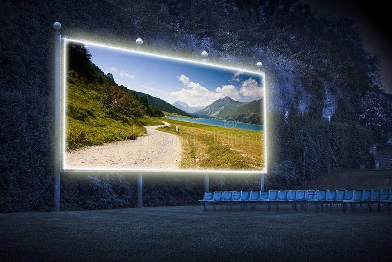 Landscape around Sils Lake on upper Engadine Valley Switzerland - Europe - Outdoor cinema concept image stock photos