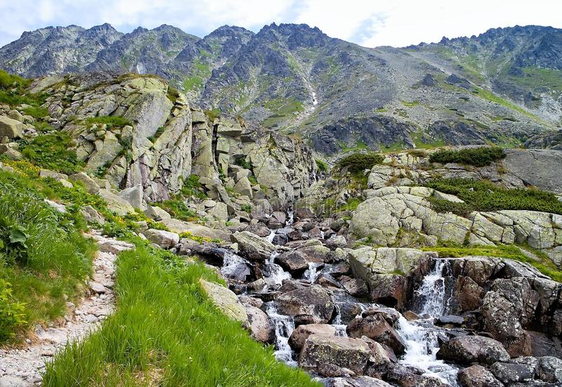 Landscape around the Skok waterfall in the High Tatras in Slovakia royalty free stock photo