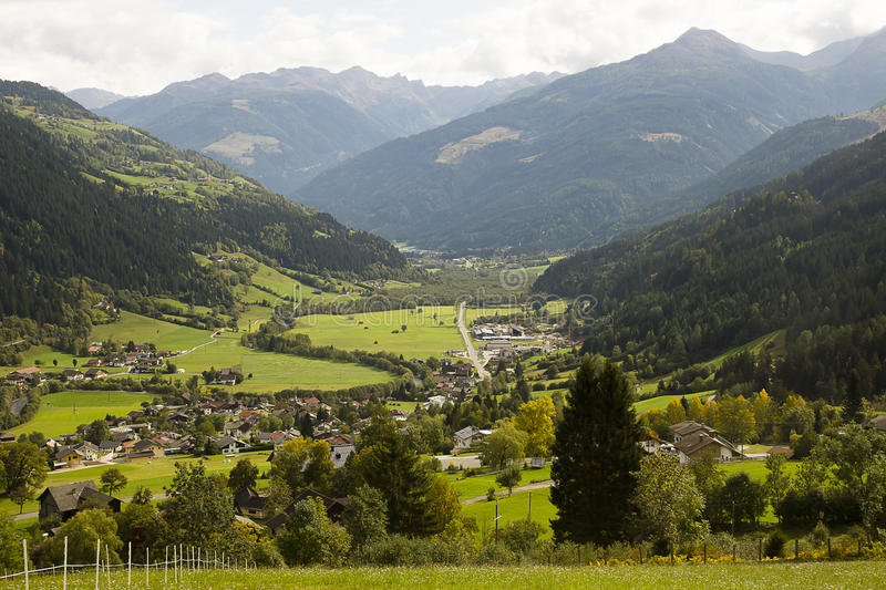 Landscape of Austrian Alps. And the town of Rangerdorf royalty free stock images