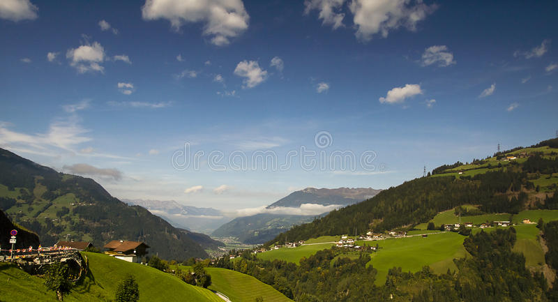 Landscape of Austrian Alps. And the town of Zell am Ziller royalty free stock photo